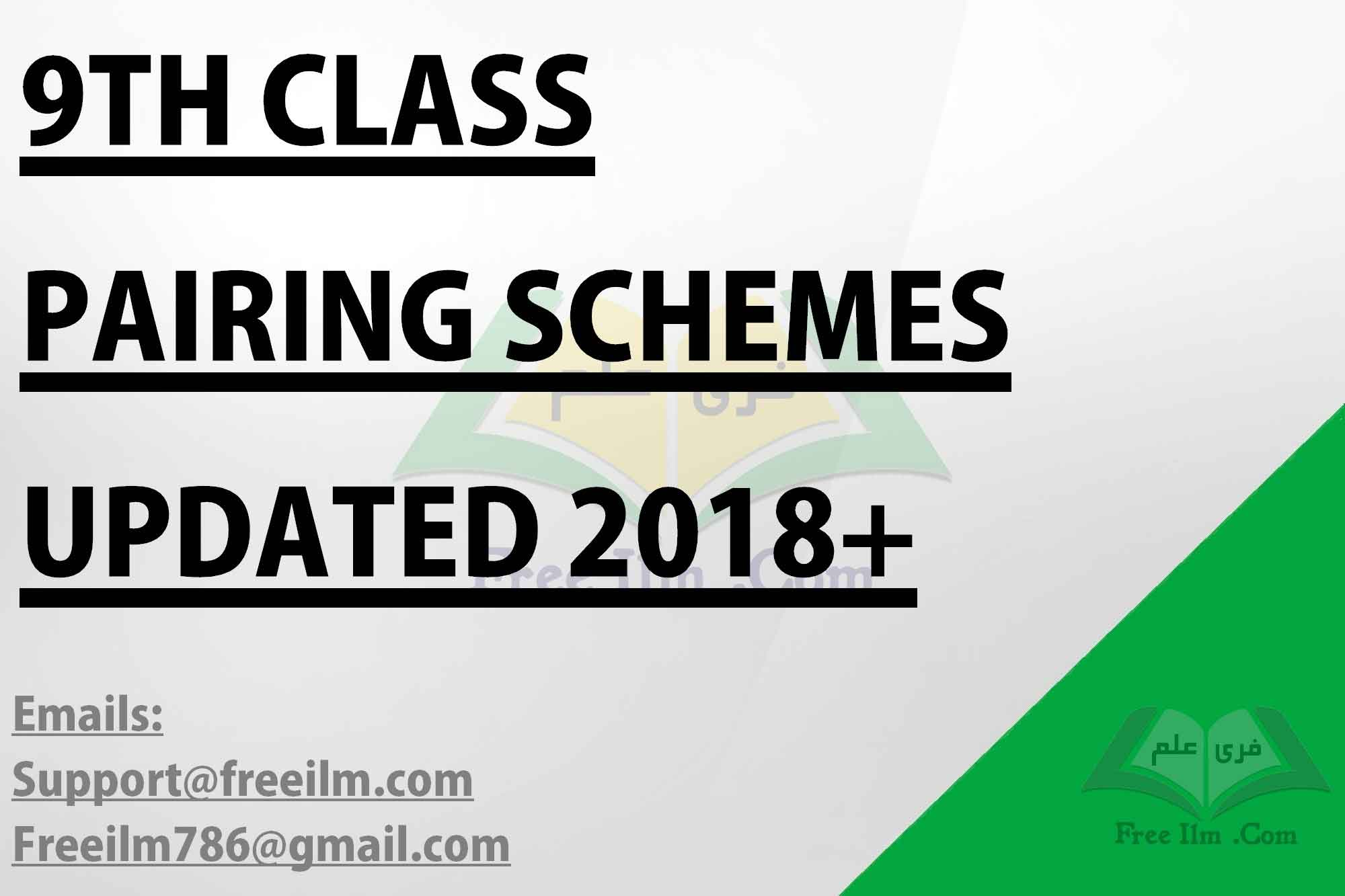 9th Class Assessment Scheme 2019 - All Subjects - FREE ILM